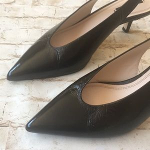 Zara Black Sling Back Pointed Toe Kitty Cat Heel
